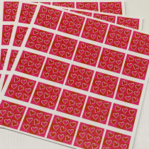 "10  planches de stickers  ""coeurs roses"""