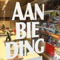 "Window cling poster ""AANBIEDING"" L140 H25 cm"