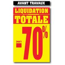 """2 affiches """"LIQUIDATION TOTALE, AVANT TRAVAUX L100 H165cm"""