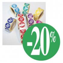 "Rouleau de 500 stickers vert ""-20%""  24 mm"