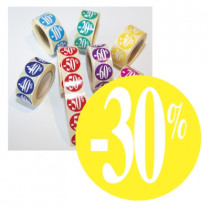 "Rouleau de 500 stickers jaune ""-30%"" 24 mm"