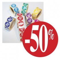 "Rouleau de 500 stickers rouge ""-50%""  24 mm"