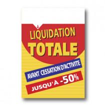 """Panneau """"Liquidation Totale"""" bandeau blanc L70 H100 cm"""