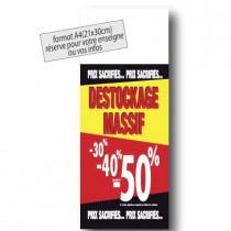 """Panneau """"DESTOCKAGE-50%"""" L30 H80 cm"""