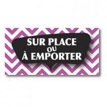 """Sticker adhésif """"SUR PLACE OU A EMPORTER"""" L80 H40 cm"""