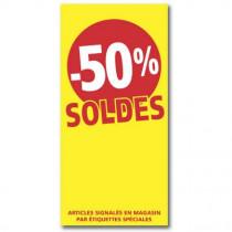 """Affiche """"SOLDES -50%"""" L56 H115 cm"""