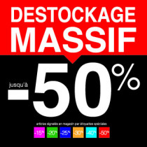 "Sticker pour table IKEA Lack ""DESTOCKAGE MASSIF -50%"" L55 H55 cm"