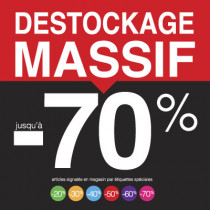 "Sticker pour table IKEA Lack ""DESTOCKAGE MASSIF -70%"" L55 H55 cm"