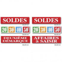 """Le kit de 6 affiches """"SOLDES"""" 01"""