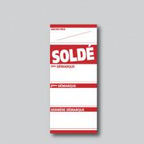 """Paquet de 250 étiquettes papier  """"SOLDÉ"""" L60 H138 mm"""