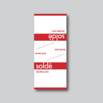 Paquet de 100 étiquettes papier  chevalet SOLDÉ L60 H140 mm