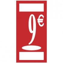"""Panneau """" 9 €"""" L19 H38 cm"""