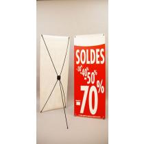 """Bâche """"SOLDES-70%""""L 60 H160 cm avec support 5 branches"""