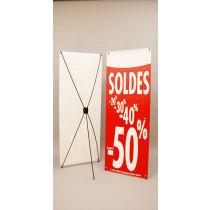 """Bâche """"SOLDES-50%"""" L60 H160 cm avec support 5 branches"""