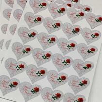 """12 Planches de stickers coeurs """"Bonne Fête Maman"""""""