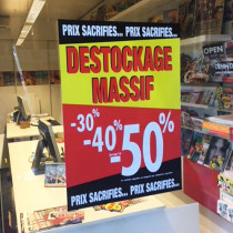 "Affiche ""DESTOCKAGE MASSIF"" L50 H70 cm"