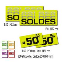 """Kit de 4 affiches """"SOLDES"""" et 300 étiquettes carton"""