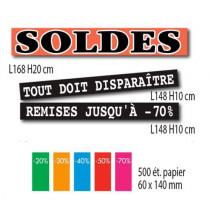 """Kit de 3 affiches """"SOLDES"""" et 500 étiquettes"""