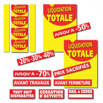 "Kit de 15 affiches  ""LIQUIDATION TOTALE 01"""