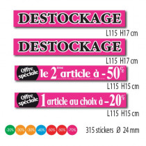 Kit de 4 affiches DESTOCKAGE et 315 stickers