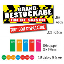 Kit de 2 affiches GRAND DESTOCKAGE 500 étiquettes et 315 stickers