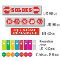 """Kit de 3 affiches """"SOLDES"""" 8 separateurs et 315 stickers"""