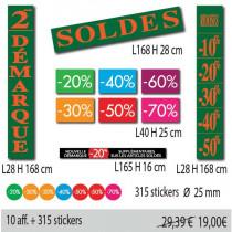 """Kit de 10 affiches """"SOLDES"""" et 315 stickers"""