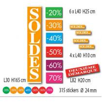 """Kit de 12 affiches """"SOLDES"""" et 315 stickers"""