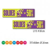 """Kit de 2 affiches """"SOLDES"""" et 315 stickers"""