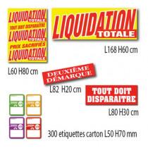 """Kit de 4 affiches """"LIQUIDATION TOTALE"""" et 300 etiquettes"""