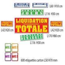 """Kit de 7 affiches """"LIQUIDATION TOTALE"""" et 600 etiquettes"""