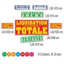 "Kit de 7 affiches ""LIQUIDATION TOTALE"" et 315 STICKERS"