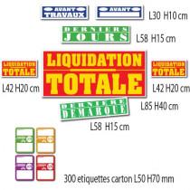 """Kit de 7 affiches """"LIQUIDATION TOTALE"""" et 300 etiquettes"""