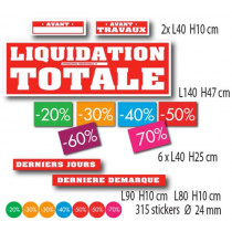"Kit de 12 affiches "" LIQUIDATION TOTALE"""
