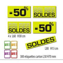 """Kit de 5 affiches """"SOLDES"""" et 300 étiquettes carton"""