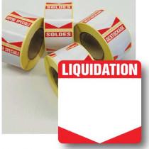 """Rouleau de 500 étiquettes adhésives """"LIQUIDATION"""" 35mm"""
