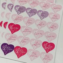 """12 Planches de stickers coeurs """"Messages Cadeaux"""""""