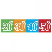 """Affiche """"-20% -30% -40% -50%"""" L80 H20 cm"""