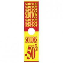 """Affiche mannequin  """"SOLDES jusqu'à -50%"""" L40 H165 cm"""