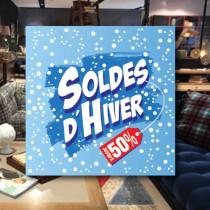 Affiche papier SOLDES D'HIVER  L50 H50cm
