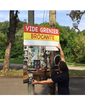 """Panneau """"Brocante Vide-grenier"""" L100 H140 cm"""