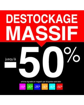 "Sticker pour table IKEA Lack ""DESTOCKAGE MASSIF -50%"" L55 H55 cm"