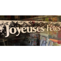 """vitrophanie electrostatique """" JOYEUSES FETES"""" L 100 H 17cm"""