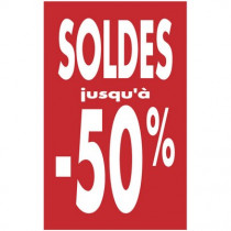 "Affiche ""SOLDES jusqu'à -50 %"" XXL L120 H170 cm"