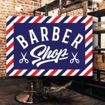 Sticker adhésif BARBER SHOP  L50 H35 cm