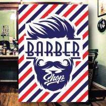 Sticker adhésif BARBER SHOP  L50 H70 cm