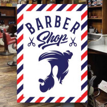 Sticker adhésif BARBER SHOP  L70 H100 cm