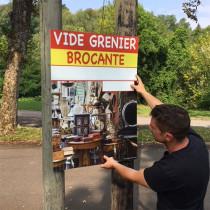 """Panneau """"Brocante Vide-grenier"""" L70 H100 cm"""