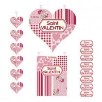 kit de 3 cartons Saint Valentin et 500 stickers