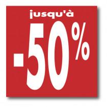 """Affiche """"Jusqu'à -50 %"""" XXL L120 H120 cm"""